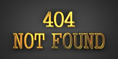 404 Not Found. Gold Text on Dark Background. Information Concept. 3D Render. photo