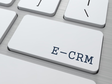 E-CRM. Information Technology Concept. Button on Modern Computer Keyboard. 3D Render. Stock Photo