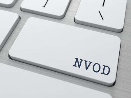 iptv: NVOD. Information Technology Concept. Button on Modern Computer Keyboard. 3D Render.