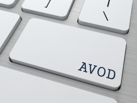 iptv: AVOD. Information Technology Concept. Button on Modern Computer Keyboard. 3D Render.