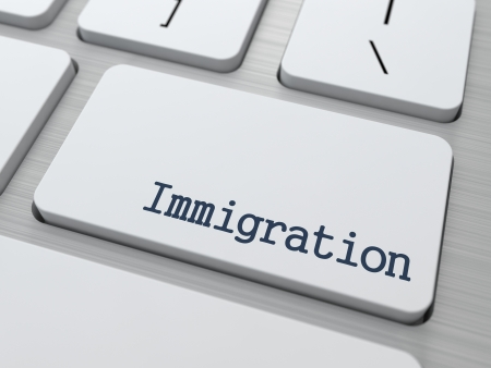 immigrate: Immigration - Social Background. Button on Modern Computer Keyboard. 3D Render.