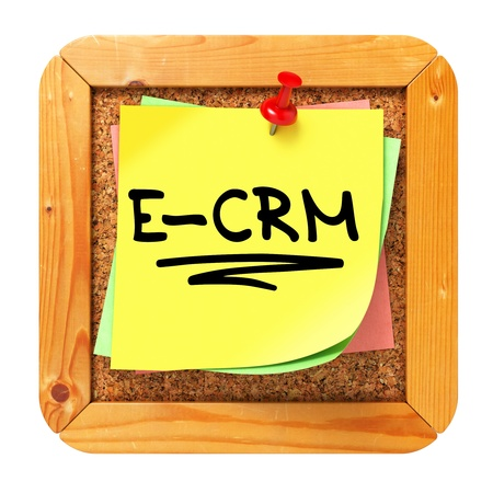 E-CRM, Yellow Sticker on Cork Bulletin or Message Board. Information Technology Concept. 3D Render. Stock Photo