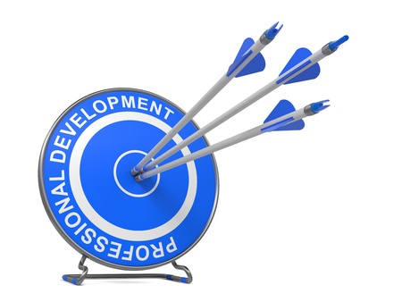 Professional Development - Business Concept. Three Arrows Hitting the Center of a Blue Target, where is Written Professional Development. Stock Photo