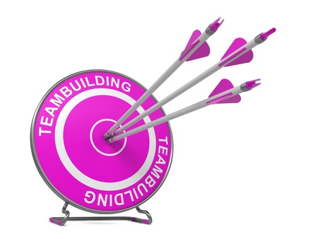 teambuilding: Teambuilding - Business  Background. Three Arrows Hitting the Center of a Pink Target, where is Written Word Teambuilding.  3D Render.