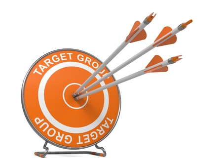 hitting: Target Group - Business Background. Three Arrows Hitting the Center of a Orange Target, where is Written Word Target Group.  3D Render.
