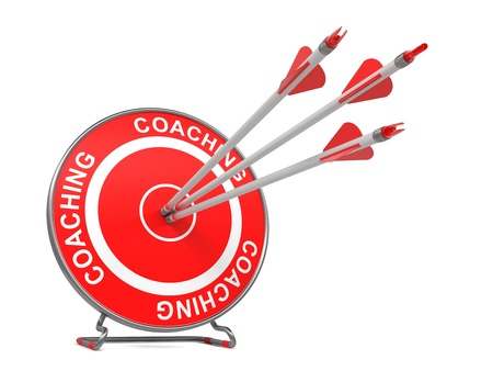 life coaching: Coaching - Business Background. Three Arrows Hitting the Center of a Red Target, where is Written Coaching. 3D Render.