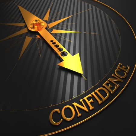 certainty: Confidence - Business Background. Golden Compass Needle on a Black Field Pointing to the Word Confidence. 3D Render.