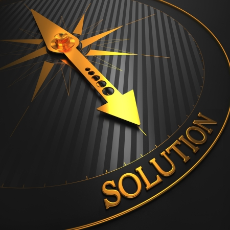 Solution - Business Background. Golden Compass Needle on a Black Field Pointing to the Word