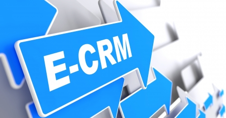 E-CRM. Information Technology Concept. Blue Arrow with E-CRM slogan on a grey background. 3D Render.