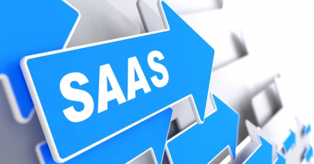 SAAS.  Information Technology Concept. Blue Arrow with 'SAAS' slogan on a grey background. 3D Render. photo