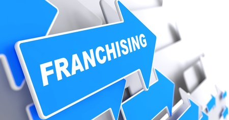 licensing: Franchising - Business Background. Blue Arrow with Franchising Slogan on a Grey Background. 3D Render. Stock Photo