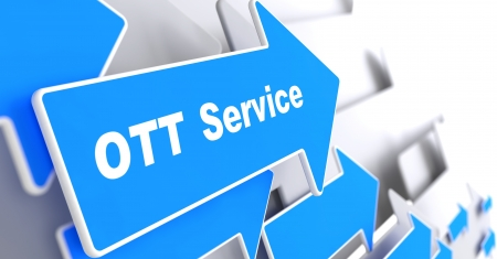 transactional: OTT Service. Information Technology Concept. Blue Arrow with OTT Service slogan on a grey background. 3D Render.
