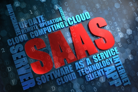 SAAS - Wordcloud Concept. The Word in Red Color, Surrounded by a Cloud of Blue Words. photo