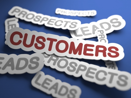 satisfied customer: Customers - Slanted Text on Blue Background with Selective Focus. 3D Render. Business Background.