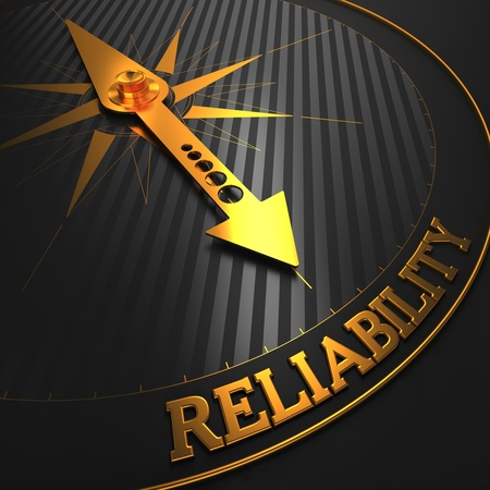 """Reliability - Business Background. Golden Compass Needle on a Black Field Pointing to the Word """"Reliability"""". 3D Render."""