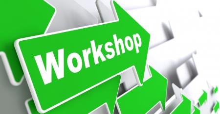 """slogan: Taller - Concepto de negocio. Flecha verde con lema """"Workshop"""" sobre un fondo gris. Render 3D. Foto de archivo"""