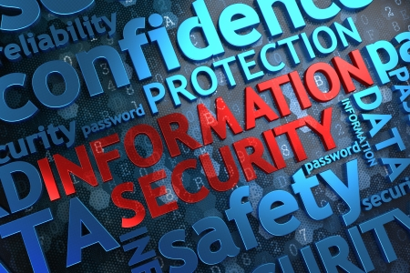 Information Security - Wordcloud Concept. The Word in Red Color, Surrounded by a Cloud of Blue Words. Stock Photo
