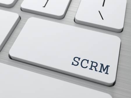 SCRM - Information Technology Concept. Button on Modern Computer Keyboard. 3D Render. photo