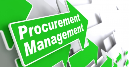 調達管理 - ビジネス コンセプト灰色の背景の 3 d の調達管理のスローガンと緑色の矢印を表示