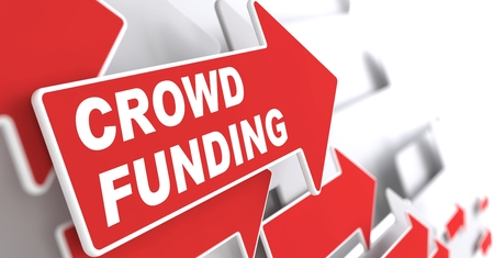 slogan: Crowd Funding  Internet Concept  Red Arrow with  Crowd Funding  Slogan on a Grey Background  3D Render