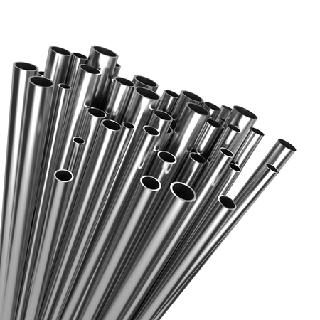 Stack of Steel Pipes Isolated on White Background  photo