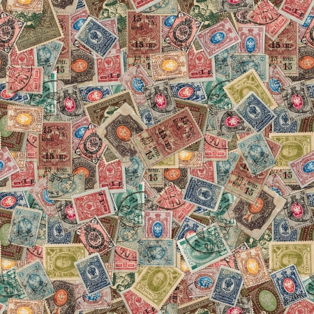 Seamless Tileable Texture of  Vintage Russia Postage Stamps  Varicolored Collage of Stamps