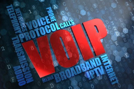 voip: VOIP  Wordcloud Concept  The Word in Red Color, Surrounded by a Cloud of Blue Words