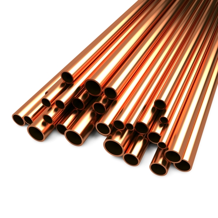 Stack of Copper Pipes Isolated on White Background  photo
