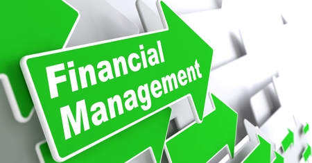 bankroll: Financial Management - Business Concept  Green Arrow with  Financial Management  Slogan on a Grey Background  3D Render