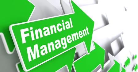account management: Financial Management - Business Concept  Green Arrow with  Financial Management  Slogan on a Grey Background  3D Render