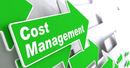 account management: Cost Management - Business Concept  Green Arrow with  Cost Management  Slogan on a Grey Background  3D Render  Stock Photo