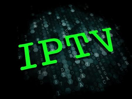 multicast: IPTV - Information Technology Concept. The Word in Green Color on Digital Background.