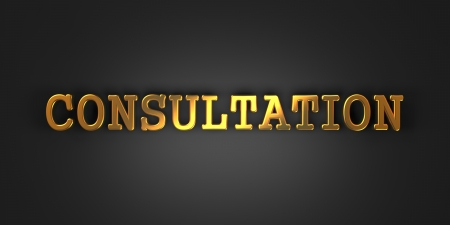 Consultation - Gold Text on Dark Background. Business Concept. 3D Render. photo