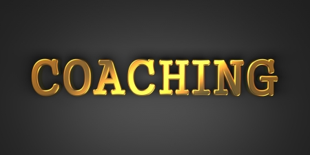 Coaching - Gold Text on Dark Background. Business Concept. 3D Render. Stok Fotoğraf