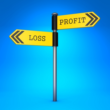 negative returns: Yellow Two-Way Direction Sign with the Words Profit or Loss on Blue Background. Business Concept of Choice. Stock Photo