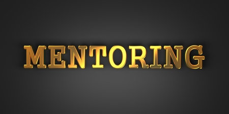 adaptation: Mentoring - Gold Text on Dark Background. Business Concept. 3D Render.