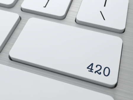 420. Cannabis Subculture Concept. Button on Modern Computer Keyboard. 3D Render. photo