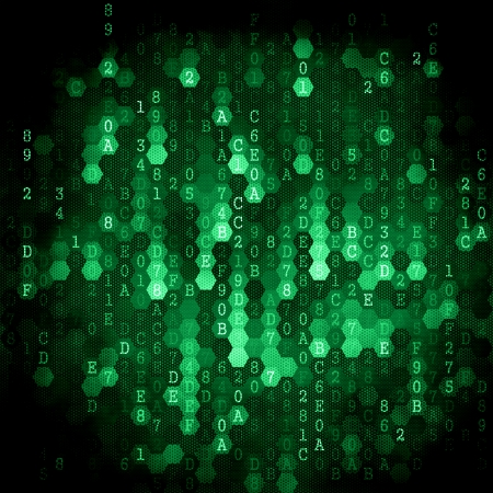Digital Background. Pixelated Series Of Numbers Of Green Color Falling Down. photo