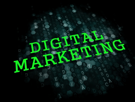 Digital Marketing - Business Concept. The Word in Light Green Color on Dark Digital Background. photo