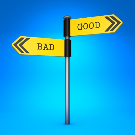 doings: Yellow Two-Way Direction Sign with the Words Bad and Good on Blue Background. Concept of Choice.