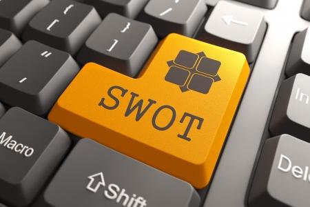 Orange SWOT Button on Computer Keyboard. Marketing Concept. photo