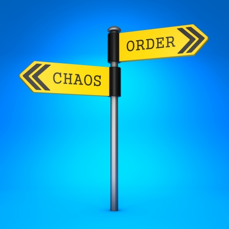 disoriented: Yellow Two-Way Direction Sign with the Words Chaos and Order on Blue Background. Concept of Choice.