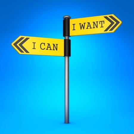 coincidir: Amarillo de dos vías señal de dirección con las palabras que puedo y lo que quiero en el fondo azul. Concepto de Choice.