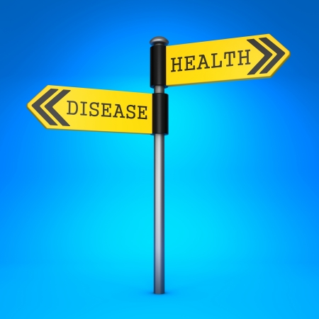 Yellow Two-Way Direction Sign with the Words Health and Disease on Blue Background. Concept of Choice. photo