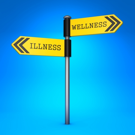 Yellow Two-Way Direction Sign with the Words Wellness and Illness on Blue Background. Concept of Choice. photo
