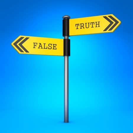 concordance: Yellow Two-Way Direction Sign with the Words False and Truth on Blue Background. Concept of Choice.