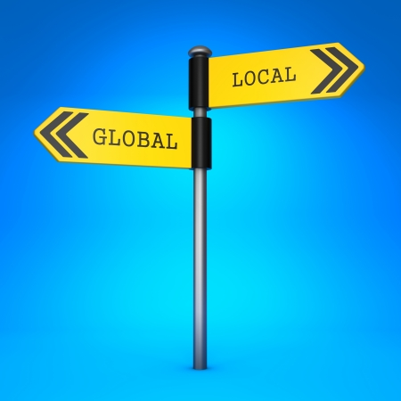 Yellow Two-Way Direction Sign with the Words Global and Local on Blue Background. Concept of Choice. photo