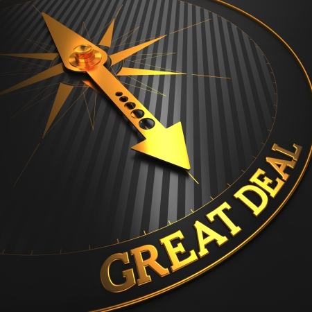 Great Deal - Business Background. Golden Compass Needle on a Black Field Pointing to the Word 'Great Deal'. 3D Render. photo