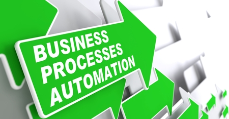 business process: Business Processes Automation - Business Concept. Green Arrow with Business Processes Automation Slogan on a Grey Background. 3D Render.