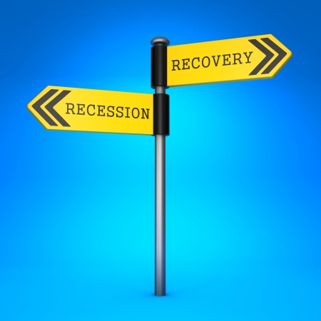 Yellow Two-Way Direction Sign with the Words Recession and Recovery on Blue Background. Concept of Choice. photo